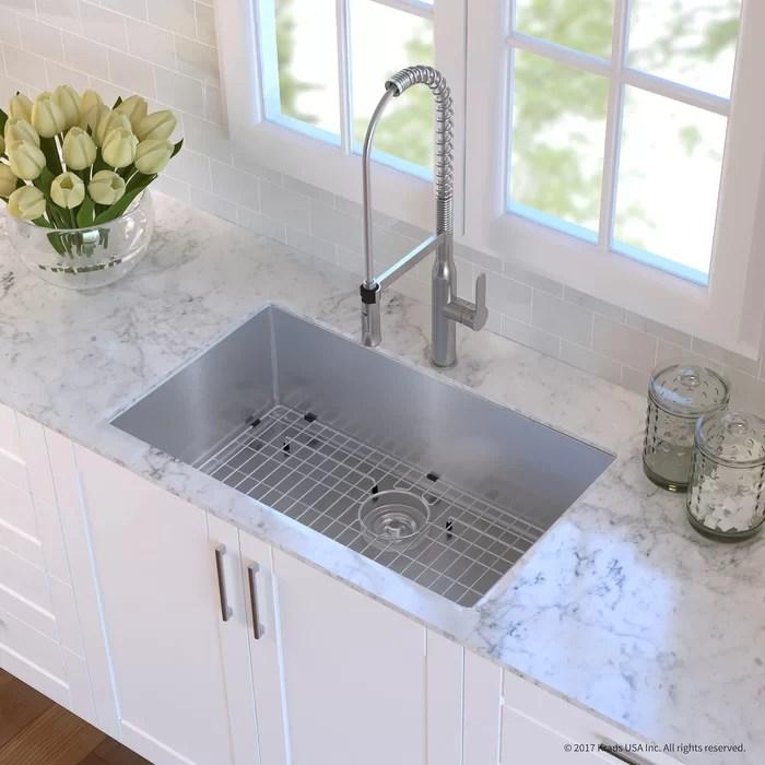 stainless steel undermount kitchen sinks wooden toy kitchens kraus handmade 16 gauge 32 l x 19 w sink with