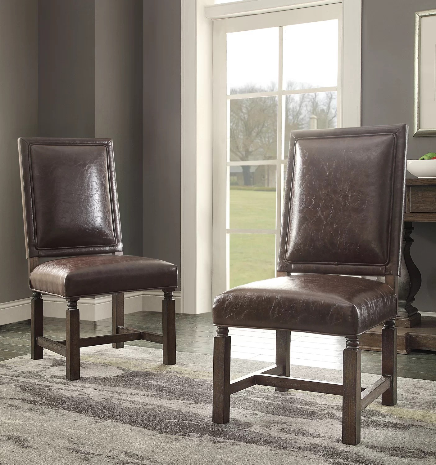 distressed dining chairs folding chair hazelwood home upholstered wayfair