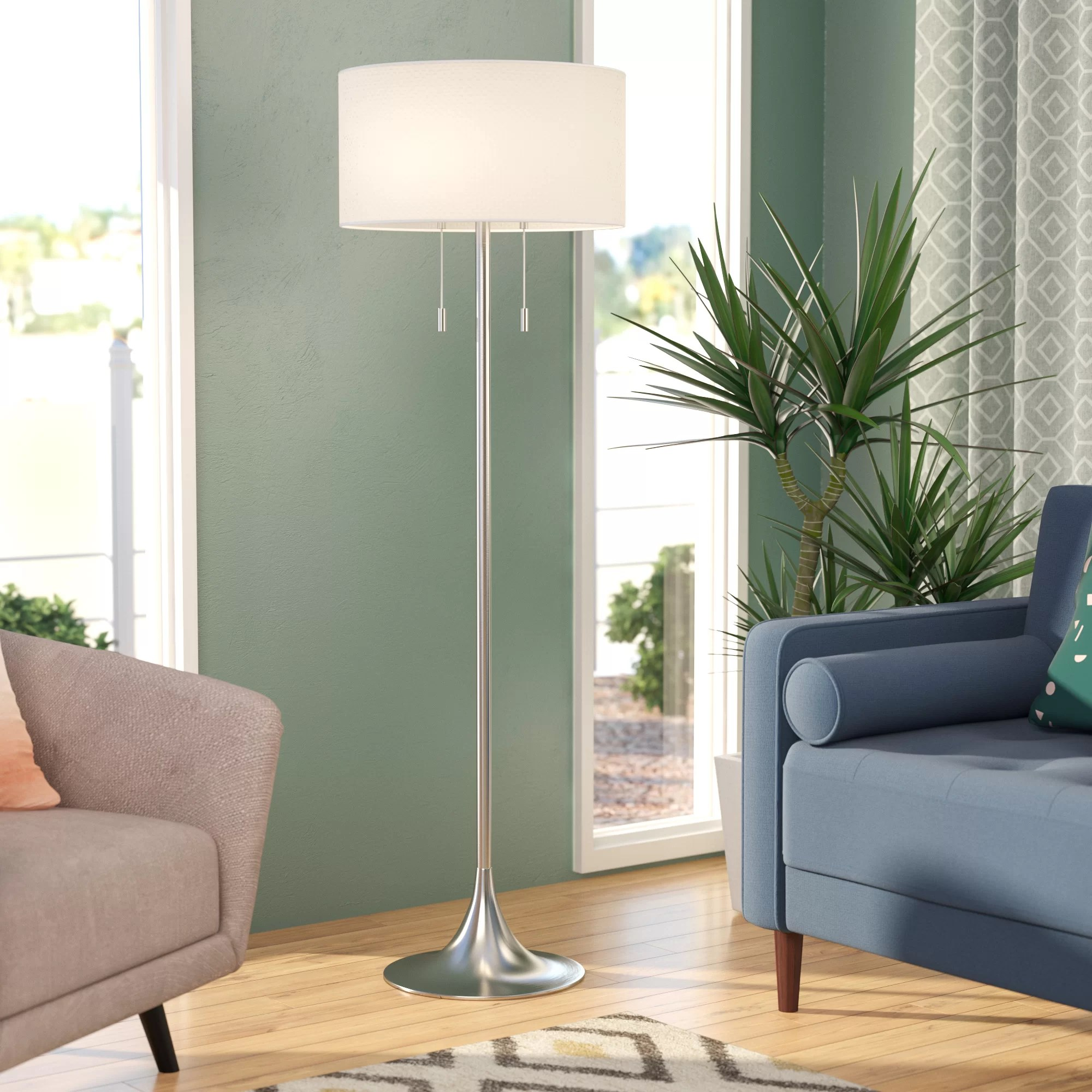 floor lamp living room good neutral paint color three posts morrisonville 61 reviews wayfair