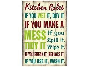 kitchen signs for work walmart cabinets funny wayfair rules wooden sign wall decor