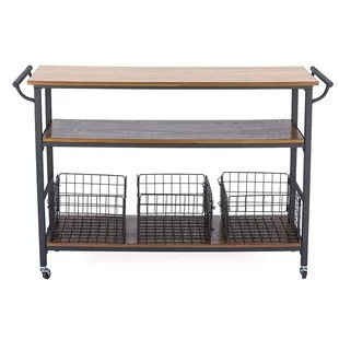 metal kitchen island of india modern islands carts allmodern fresnay with wooden top