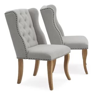gray upholstered dining chairs staples office chair sale kitchen you ll love wayfair quickview grey