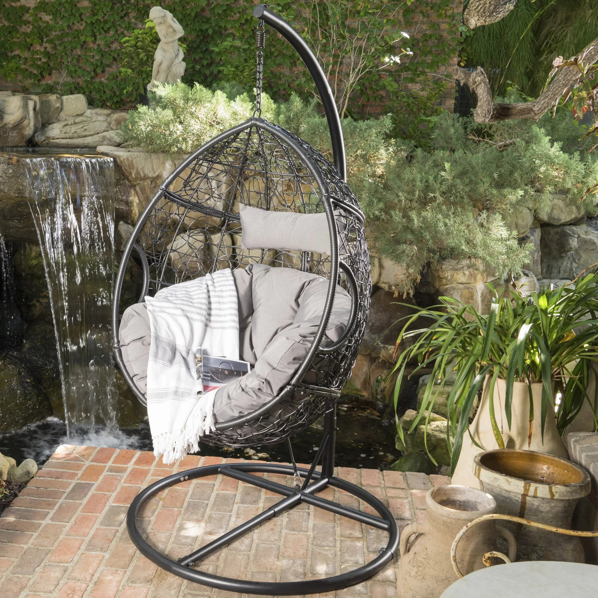 swing chair with stand outdoor high back covers trent austin design dawson basket reviews wayfair
