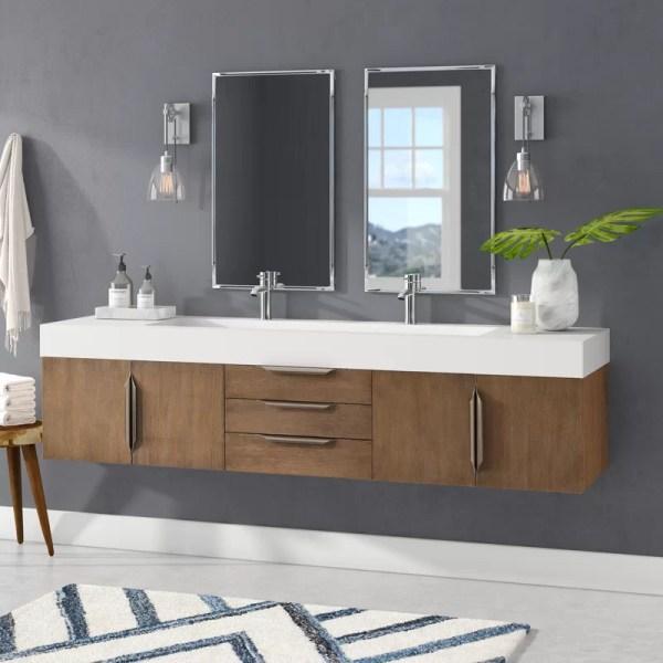 "Brayden Studio Hukill 72"" Wall-mounted Double Bathroom"