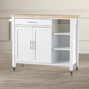 kitchen cart with drawers cabinets 3 tier wayfair landau butcher block top