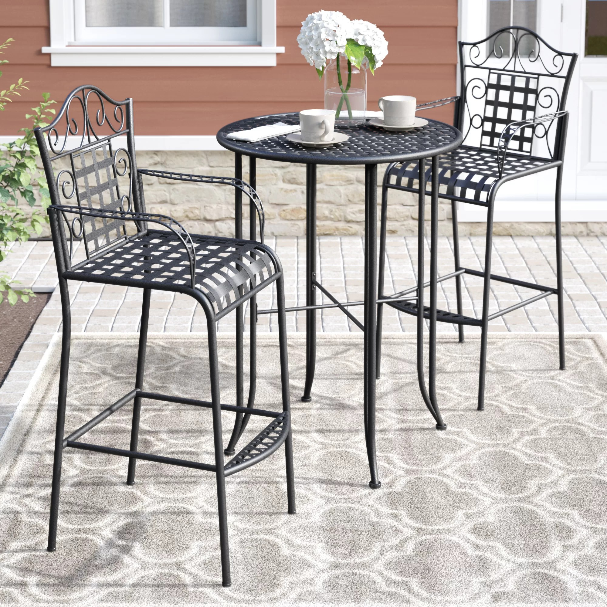 Bar Height Table And Chairs Nocona 3 Piece Bar Height Bistro Patio Set