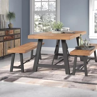kitchen table set with bench stoves at lowes small wayfair lebanon 3 piece solid wood dining