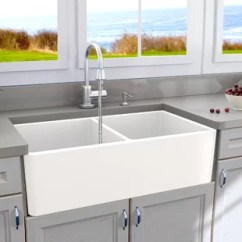 Kitchen Farm Sink Bar Top Tables White Farmers Wayfair Cape 33 X 18 Double Basin Farmhouse