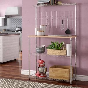 kitchen bakers rack 6 person table baker s racks you ll love wayfair ca shrewsbury etagere steel