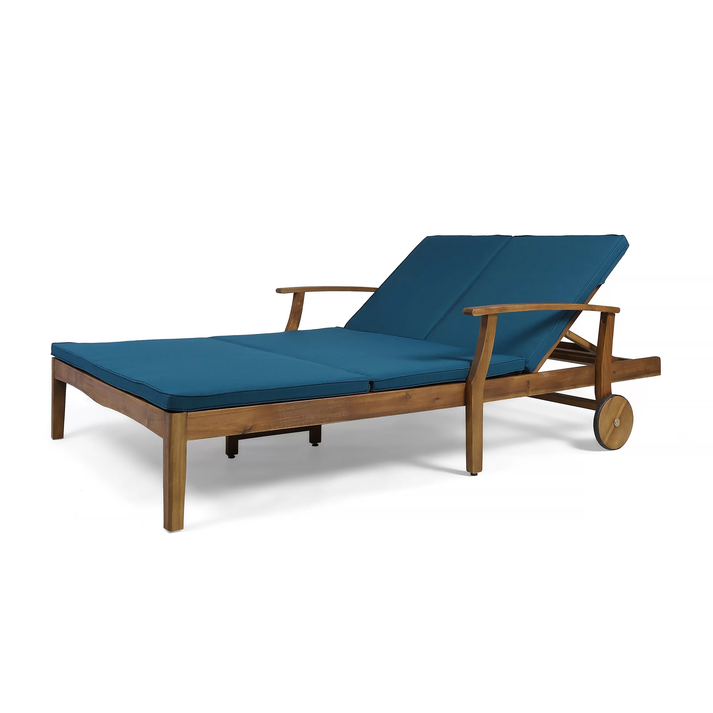 Teak Chaise Lounge Chairs Antonia Double Reclining Teak Chaise Lounge With Cushion