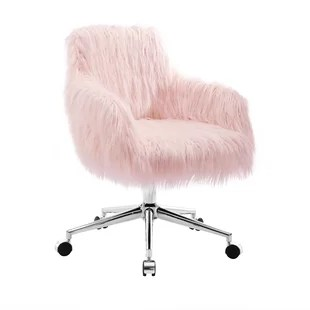 fluffy desk chair baby swinging model no ts bs 16 faux fur chairs you ll love wayfair quickview