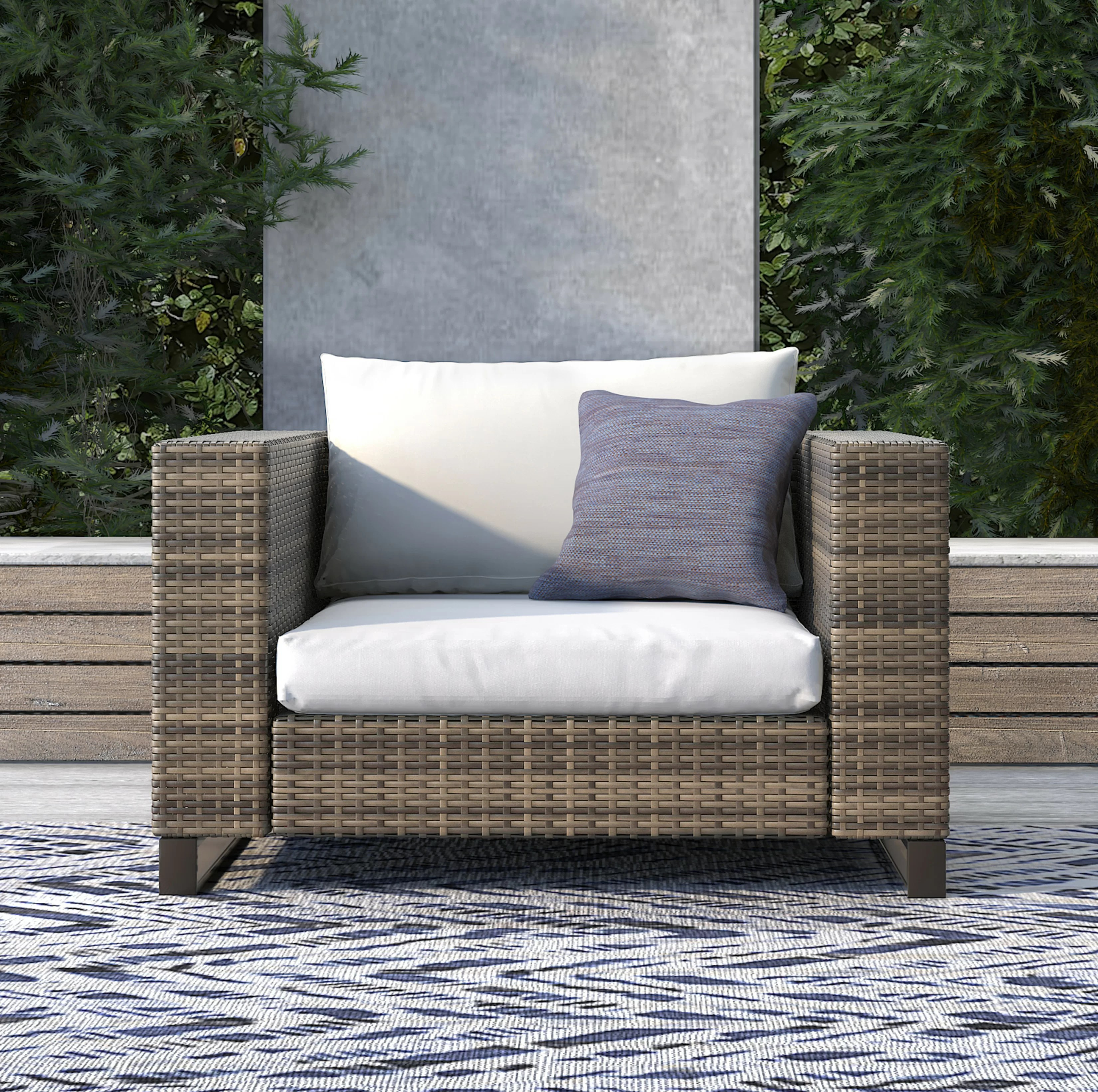 Wicker Patio Chair Oceanside Outdoor Wicker Patio Chair With Cushions
