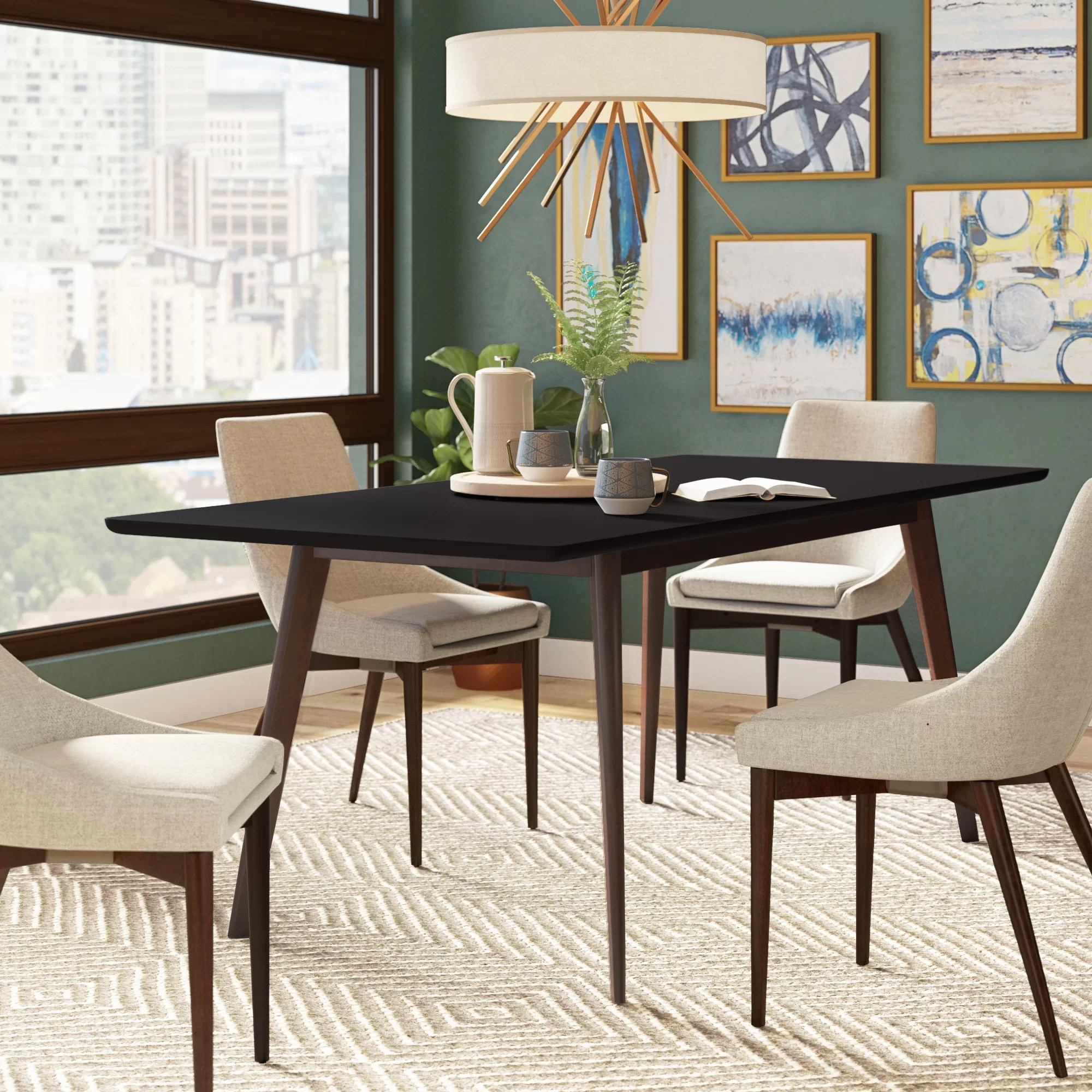 rubberwood butterfly table with 4 chairs real good chair copper wrought studio mcewen dining reviews wayfair
