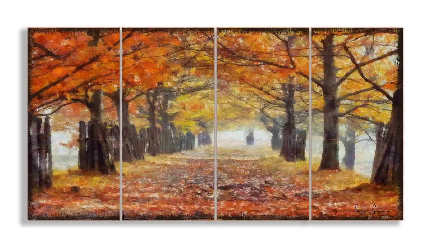 Stupell Industries A Walk Through The Autumn Trees 4 Piece Canvas Wall Art Set Amp Reviews Wayfair