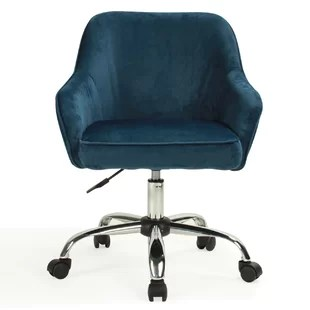 blue office chair rubber feet floor protectors velvet chairs you ll love wayfair quickview
