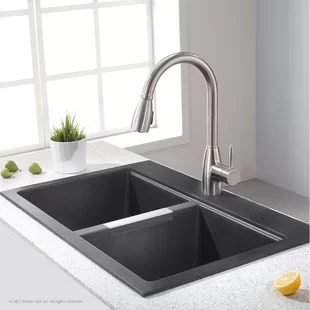 sinks kitchen small carts on wheels you ll love wayfair ca granite 33 l x 22 w double basin dual mount sink