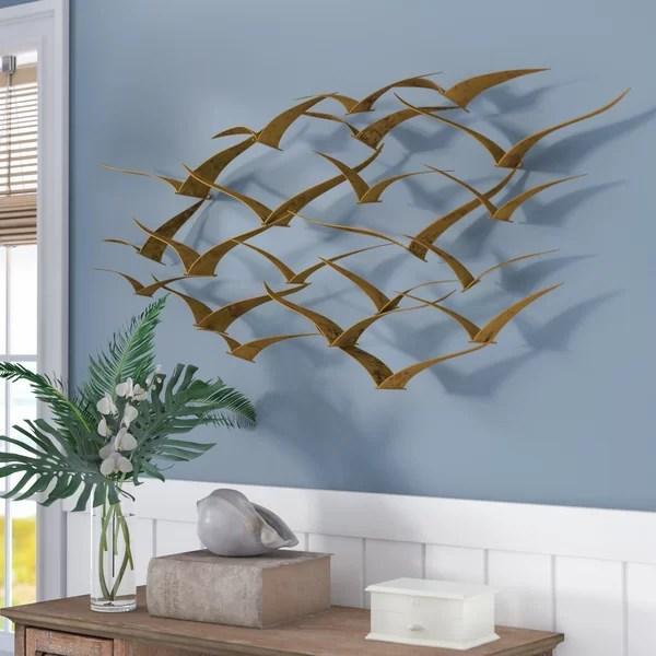 Beachcrest Home Beautiful Patterned Metal Flocking Birds