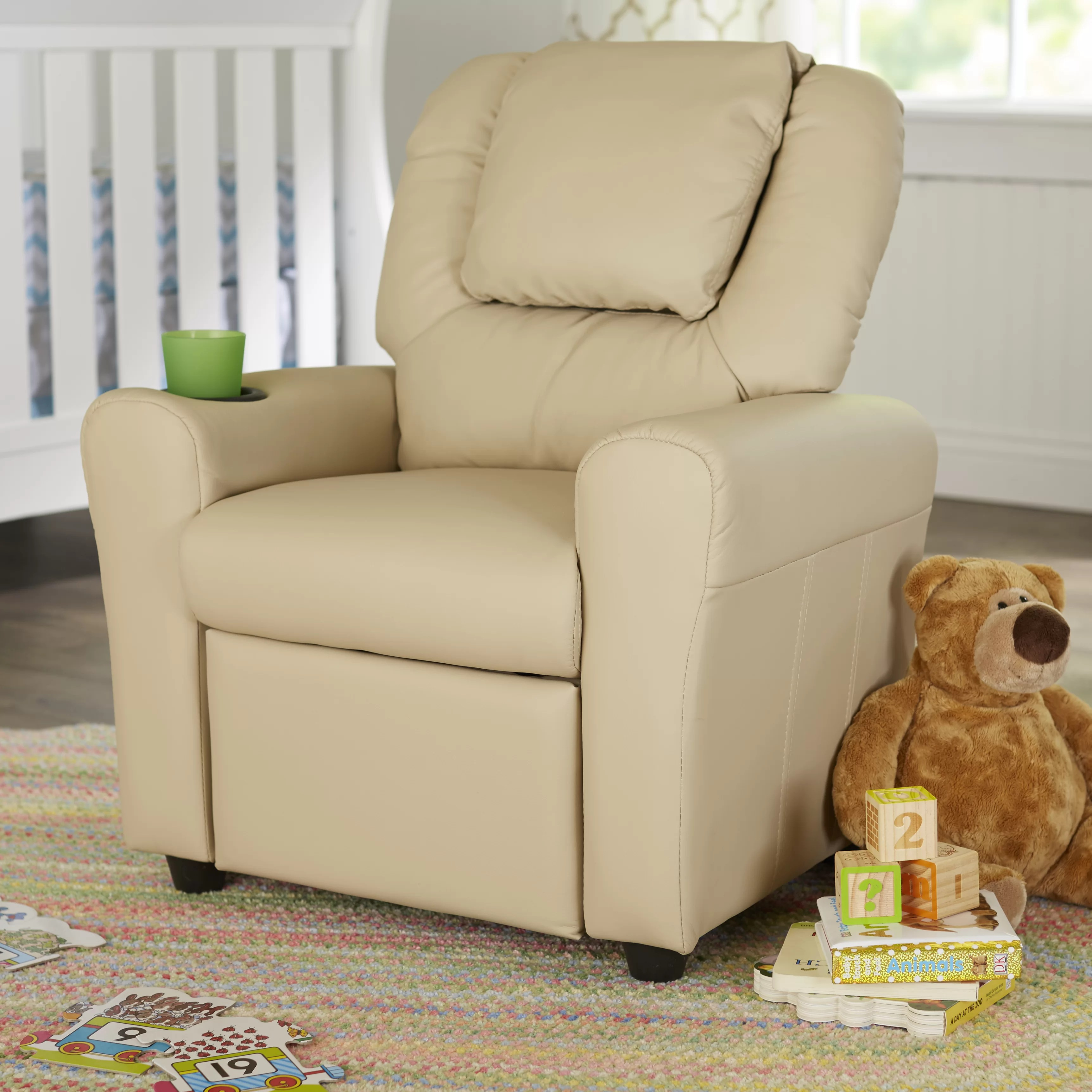 Monogrammed Toddler Chair Contemporary Personalized Kids Recliner With Cup Holder
