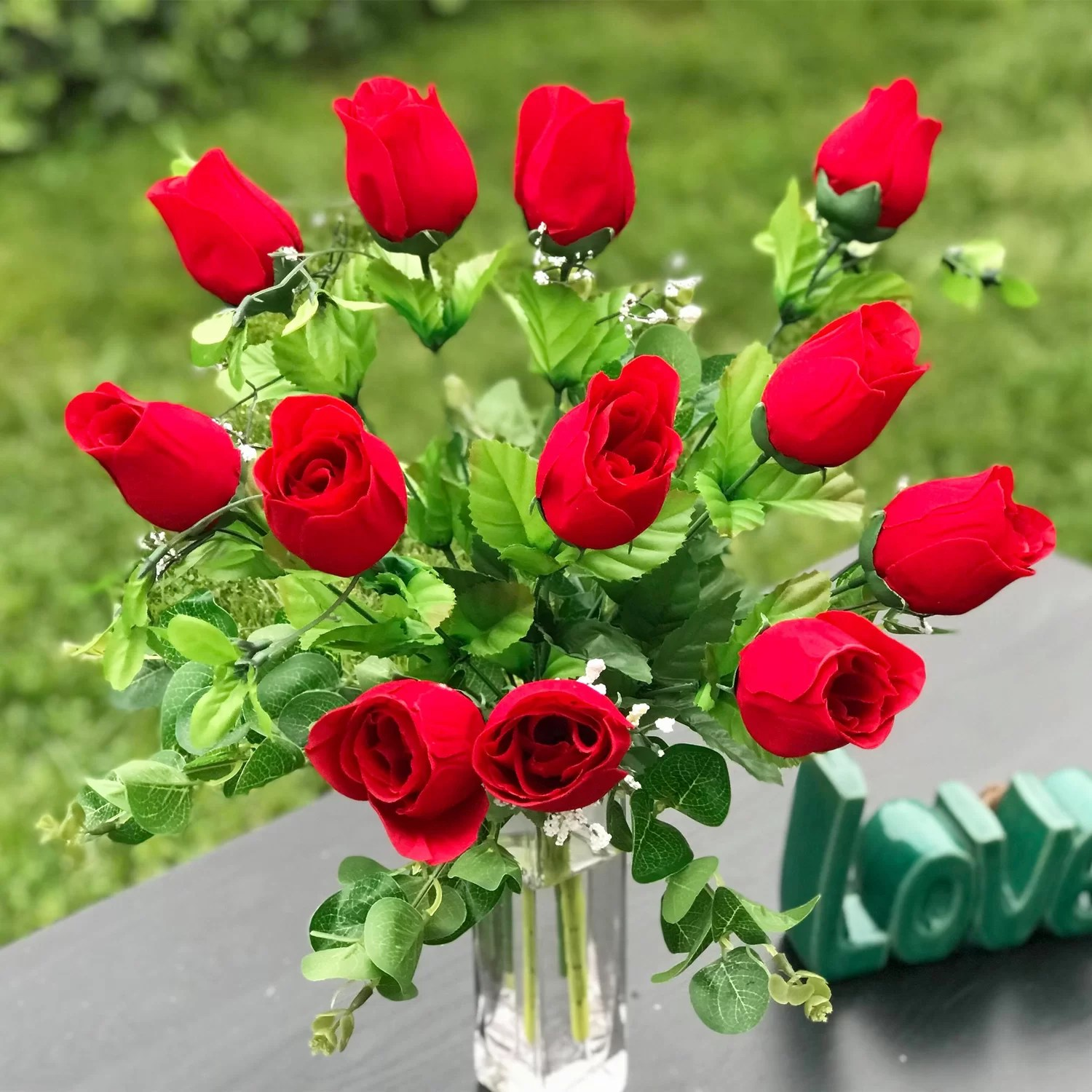 artificial red rose floral