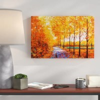 Hokku Designs Autumn Trees and Leafs Painting Print on