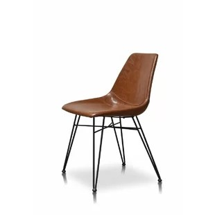 tan leather dining chairs melbourne 2 seater oak table and modern contemporary chair allmodern adrianne pu upholstered set of