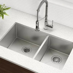 sinks kitchen ready made island for you ll love wayfair ca 33 l x 19 w double basin undermount sink with drain assembly