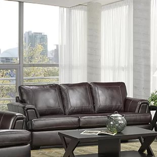 brown leather couch living room wine country decorating dark wayfair verano italian sofa
