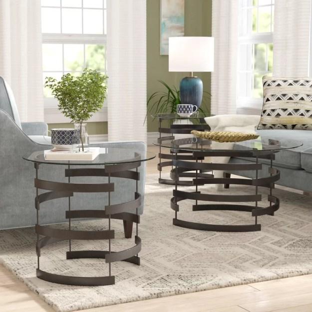 latitude run bailey 3 piece coffee table set & reviews | wayfair