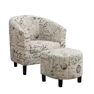 tub chair covers for sale what kind of fabric dining room chairs ottoman sets you ll love wayfair emory barrel