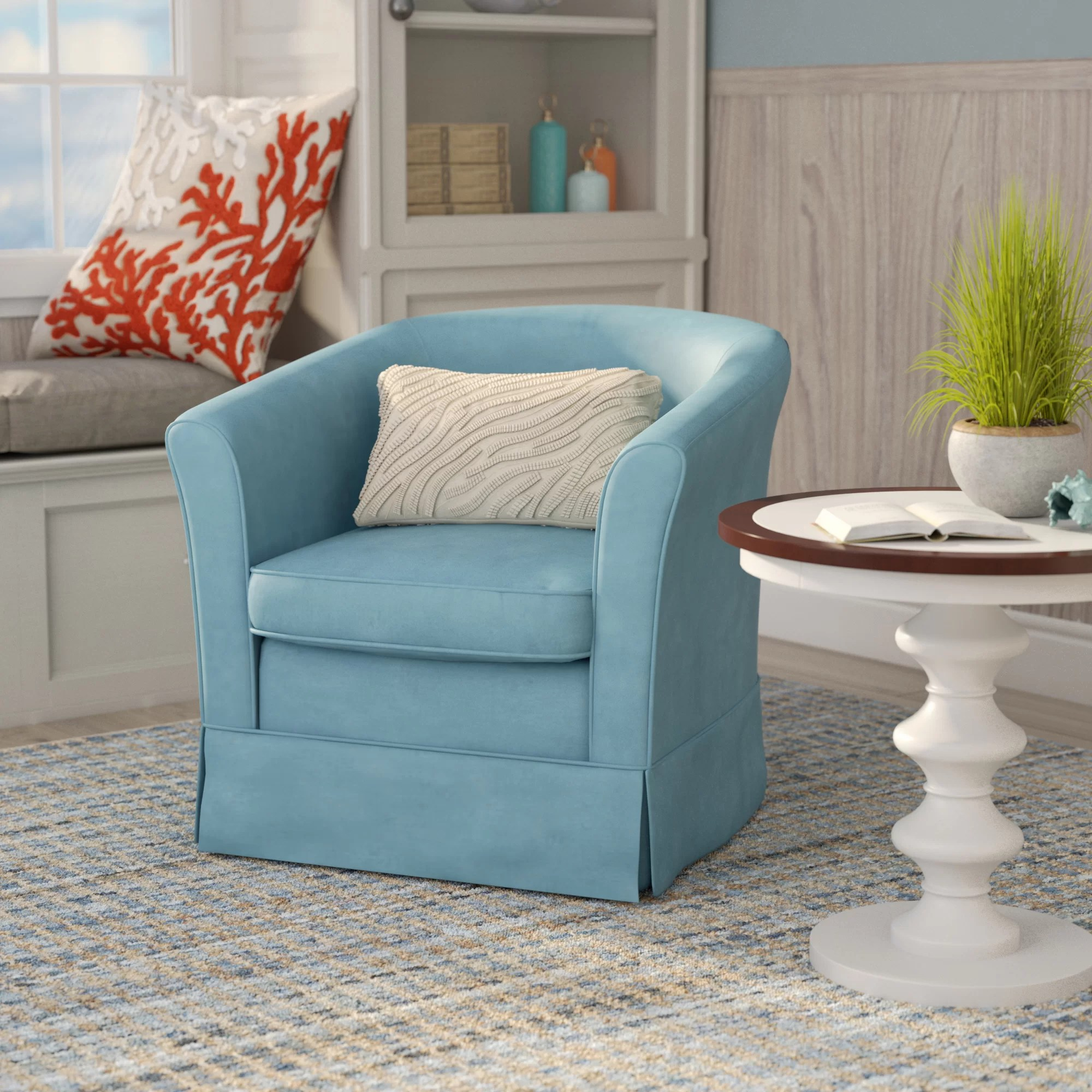 Blue Swivel Chair Laurel Foundry Modern Farmhouse Sevan Swivel Barrel Chair