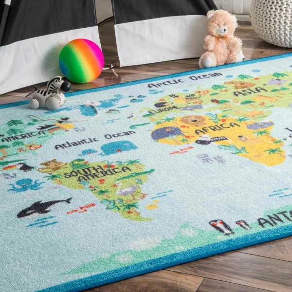Zoomie Kids Rhea Animal World Map Blue Green Area Rug &