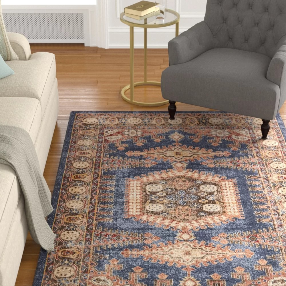 living rooms with blue area rugs curtain ideas for large windows in room astoria grand nathanson dark rug reviews wayfair