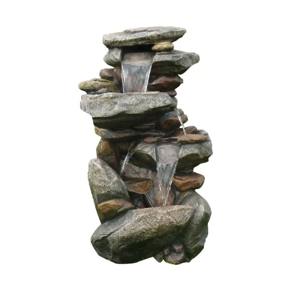 Sol 72 Outdoor Clarinda Resin Rocks Cascading Fountain
