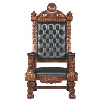 Design Toscano The Fitzjames Throne Leather Armchair