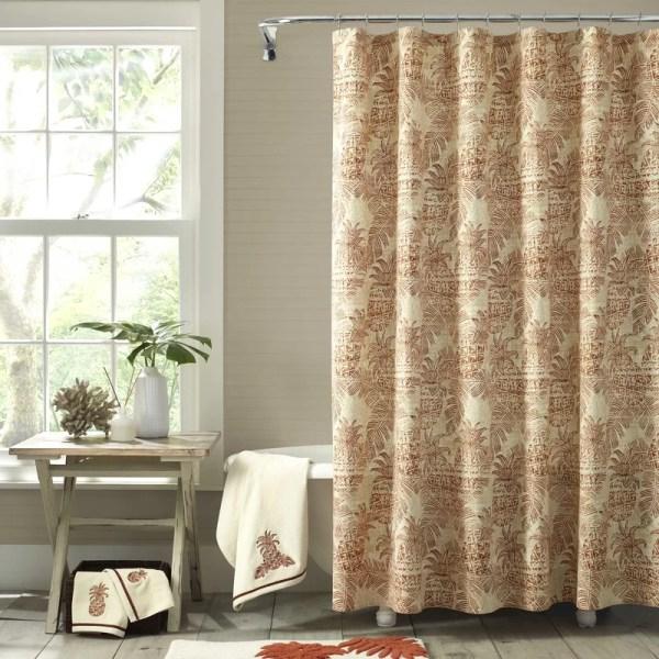 Tommy Bahama Home Batik Pineapple 100 Cotton Shower Curtain