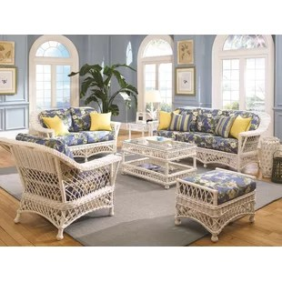 wicker living room sets houzz paint coastal you ll love wayfair rosado 6 piece set