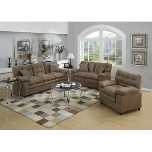 microfiber living room furniture design ideas with brown leather sofa sets you ll love wayfair hayleigh 3 piece set