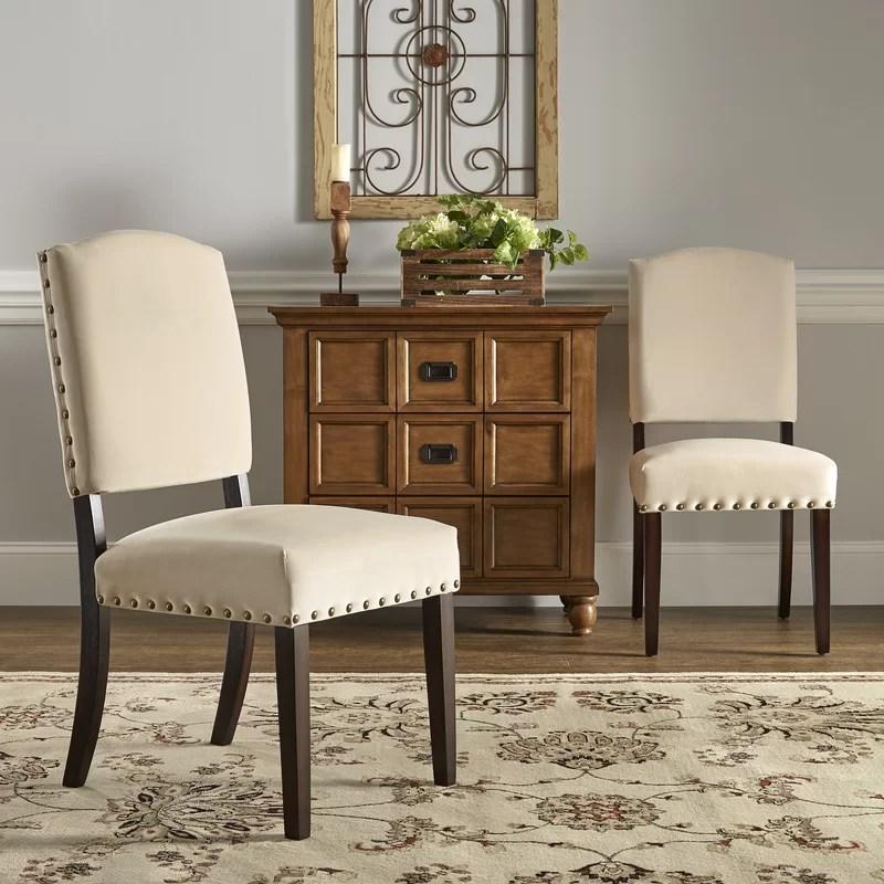 nailhead upholstered dining chair memory foam bed lark manor pompon velvet wayfair manorpompon