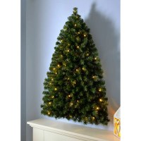 The Seasonal Aisle Pre-Lit Wall Mounted 3ft Green Pine ...