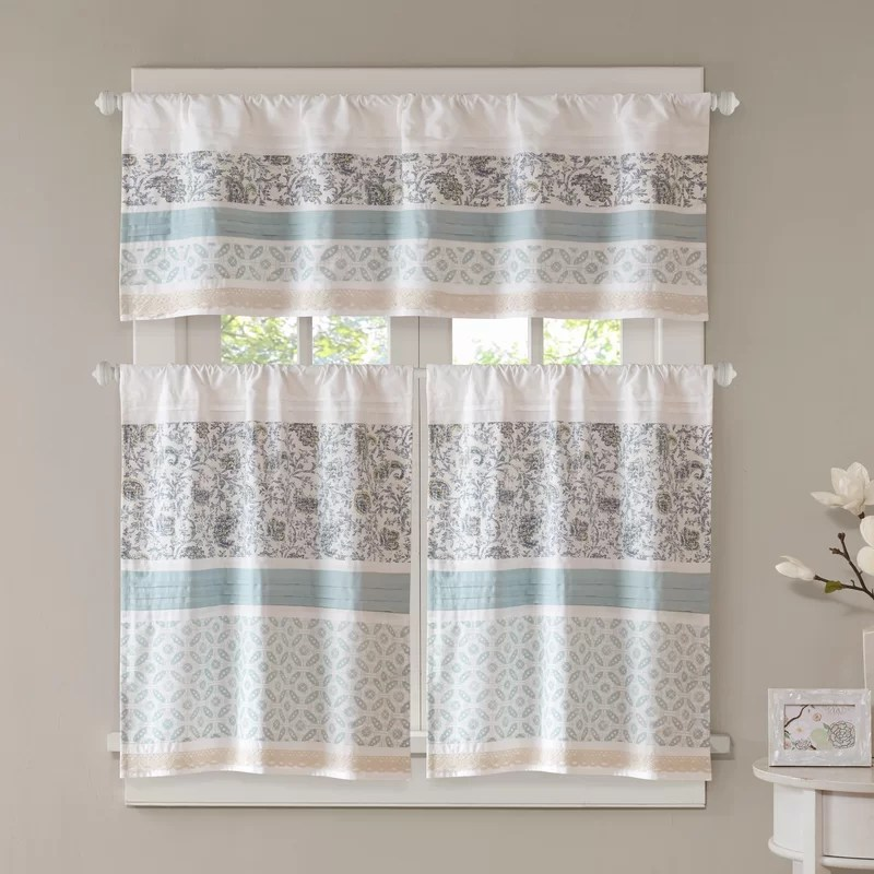 curtains kitchen make up air for residential hoods chambery printed and pieced rod pocket