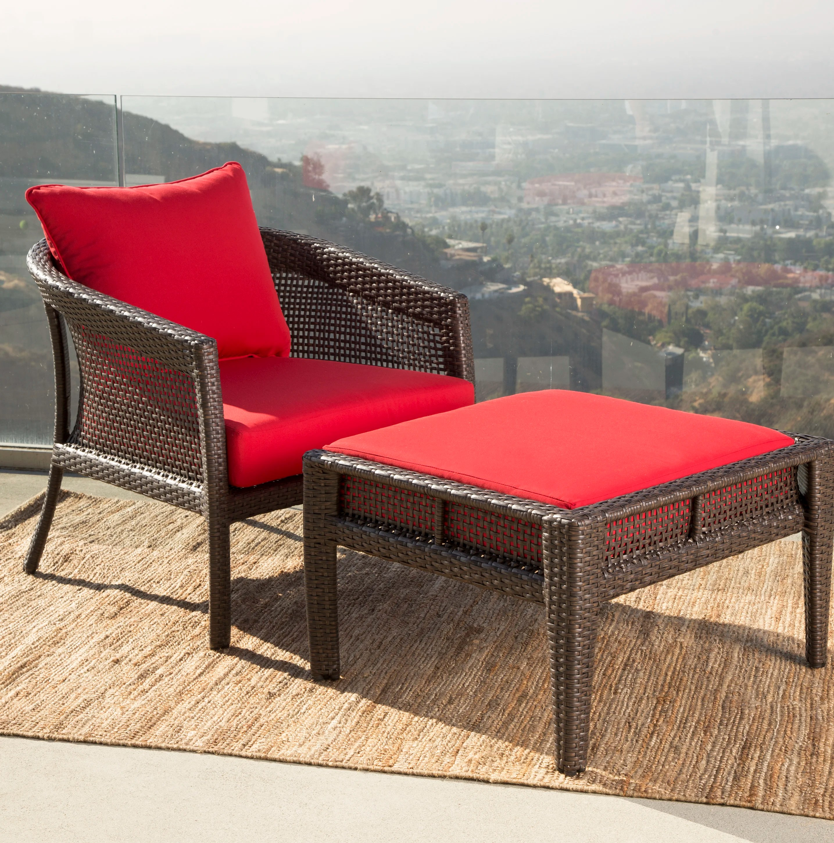 Red Patio Chairs Fincham Sunbrella Red Outdoor Wicker Patio Chair