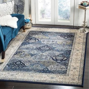 blue persian rug living room side chairs for rooms safavieh vintage wayfair garden navy ivory area