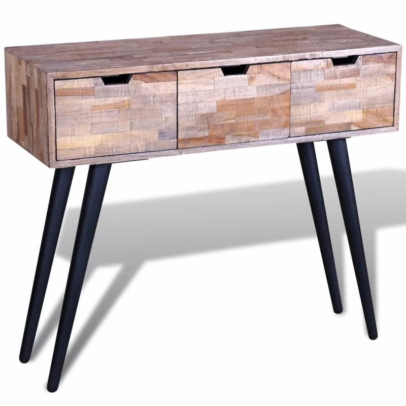 teak sofa table stella wrought studio aaron reclaimed console wayfair co uk