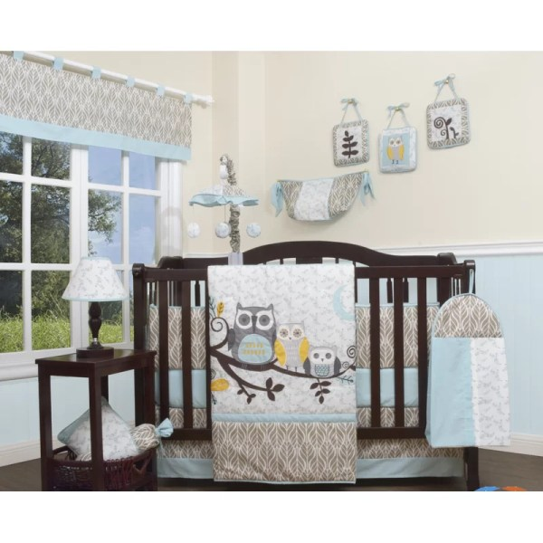 Geenny Enchanted Forest Owls Family 13 Piece Crib Bedding Set &