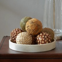 Three Posts Autumnal 8 Piece Natural Ball Sculpture Set