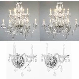 Litten 4 Piece Crystal Chandelier And Wall Sconce Set
