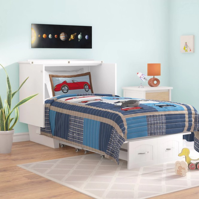 Viv Rae Charles Twin Storage Murphy Bed With Mattress Reviews Wayfair