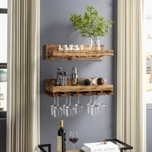 kitchen wine rack amazon cabinets find racks for your wayfair bernon rustic wall mounted glass set of 2