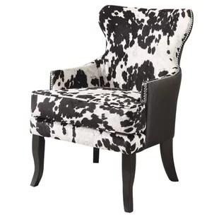 cowhide print accent chair where to buy a bean bag brown cow chairs wayfair faux wingback