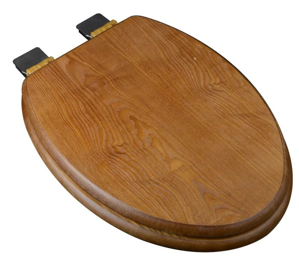 Dark Wood Elongated Toilet Seat